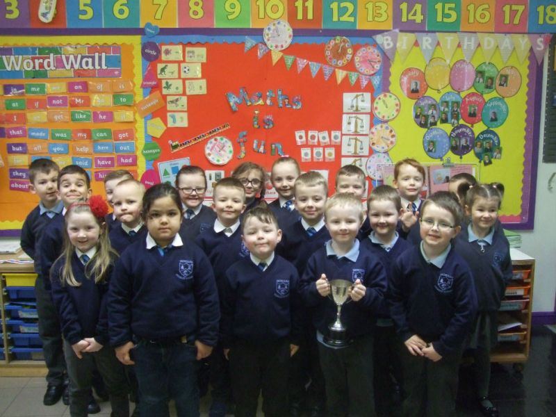 Primary 1 and 2 won the attendance cup for April.